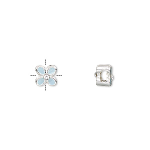 "Bead, Epoxy / Glass Rhinestone / Silver-finished ""pewter"" (zinc-based Alloy), Light Blue Clear, 6x6mm Cross-drilled Double-sided Flower 2mm Hole. Sold Per Pkg 4"