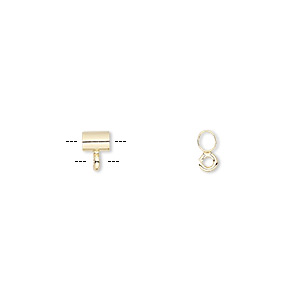 Bead, Gold-plated Brass, 4x3mm Round Tube Open Loop, 2mm Hole. Sold Per Pkg 10