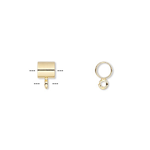 Bead, Gold-plated Brass, 5x5mm Round Tube Open Loop, 3.5mm Hole. Sold Per Pkg 10