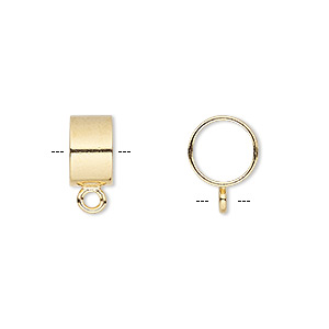 Bead, Gold-plated Brass, 10x6mm Round Tube Closed Loop, 8mm Hole. Sold Per Pkg 10