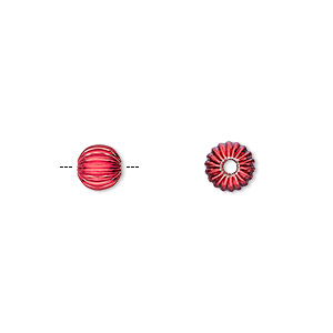 Bead, Electro-coated Brass, Red, 6mm Corrugated Round. Sold Per Pkg 10