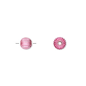 Bead, Electro-coated Brass, Pink, 6mm Corrugated Round. Sold Per Pkg 10