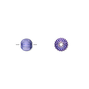 Bead, Electro-coated Brass, Purple, 6mm Corrugated Round. Sold Per Pkg 10