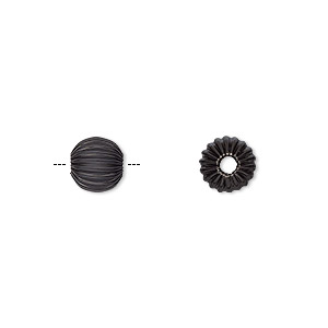 Bead, Electro-coated Brass, Black, 6mm Corrugated Round. Sold Per Pkg 10
