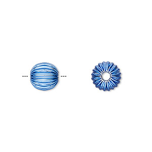 Bead, Electro-coated Brass, Blue, 8mm Corrugated Round. Sold Per Pkg 10