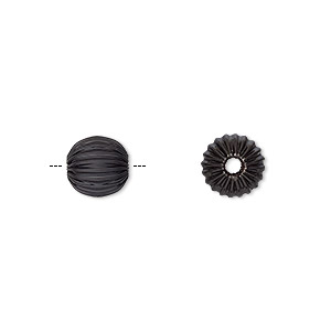 Bead, Electro-coated Brass, Black, 8mm Corrugated Round. Sold Per Pkg 10