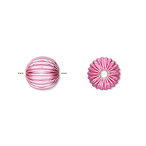 Bead, Electro-coated Brass, Pink, 10mm Corrugated Round. Sold Per Pkg 10