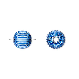 Bead, Electro-coated Brass, Blue, 10mm Corrugated Round. Sold Per Pkg 10