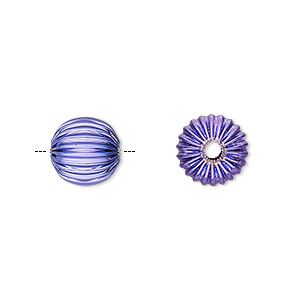 Bead, Electro-coated Brass, Purple, 10mm Corrugated Round. Sold Per Pkg 10