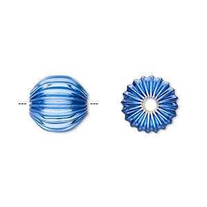 Bead, Electro-coated Brass, Blue, 12mm Corrugated Round. Sold Per Pkg 10
