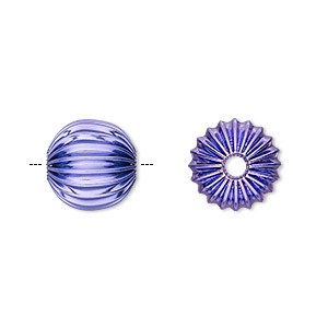Bead, Electro-coated Brass, Purple, 12mm Corrugated Round. Sold Per Pkg 10