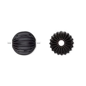 Bead, Electro-coated Brass, Black, 12mm Corrugated Round. Sold Per Pkg 10