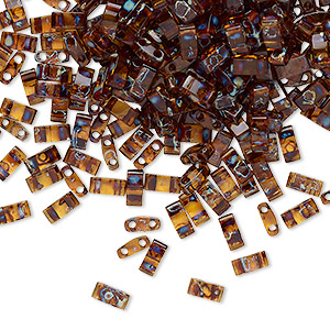 Bead, Tila®, Half Tila, Glass, Transparent Picasso Amber Brown, (HTL4502), 5x2.3mm Rectangle (2) 0.8mm Holes. Sold Per 250-gram Pkg HTL4502