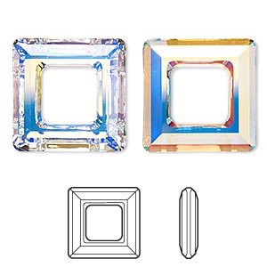 2edd36231 Component, Swarovski® crystals, crystal AB, 20mm faceted square ring fancy  stone (4439). Sold individually. - Fire Mountain Gems and Beads
