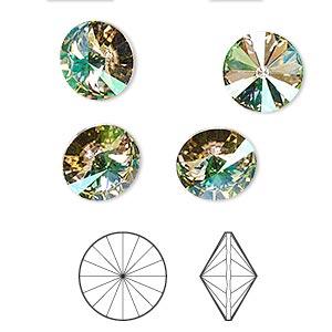 70b545178 Chaton, Swarovski® crystal rhinestone, crystal luminous green, foil ...