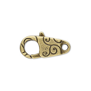 "Clasp, Lobster Claw, Antique Brass-plated ""pewter"" (zinc-based Alloy), 24x12mm Double-sided Swirl Design. Sold Per Pkg 6"
