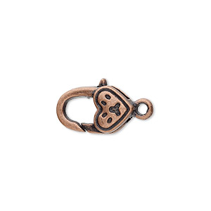 "Clasp, Lobster Claw, Antique Copper-plated ""pewter"" (zinc-based Alloy), 17x10mm Double-sided Paw Heart Design. Sold Per Pkg 8"