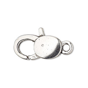 "Clasp, Lobster Claw, Antique Silver-plated ""pewter"" (zinc-based Alloy), 25x13mm Double-sided Smooth Design. Sold Per Pkg 6"
