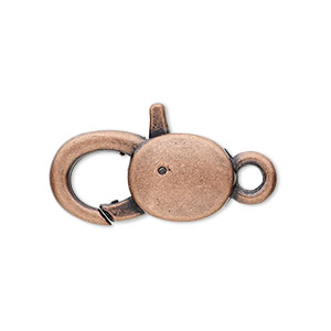 "Clasp, Lobster Claw, Antique Copper-plated ""pewter"" (zinc-based Alloy), 25x13mm Double-sided Smooth Design. Sold Per Pkg 6"