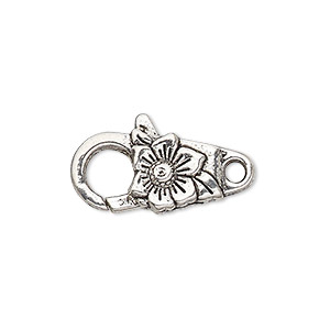 "Clasp, Lobster Claw, Antique Silver-plated ""pewter"" (zinc-based Alloy), 20x11mm Double-sided Flower Design. Sold Per Pkg 6"
