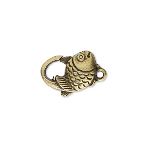 "Clasp, Lobster Claw, Antique Brass-plated ""pewter"" (zinc-based Alloy), 17x12mm Double-sided Fish Design. Sold Per Pkg 8"