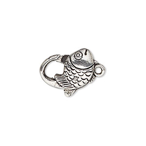 "Clasp, Lobster Claw, Antique Silver-plated ""pewter"" (zinc-based Alloy), 17x12mm Double-sided Fish Design. Sold Per Pkg 8"