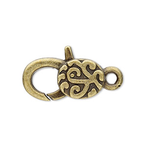 "Clasp, Lobster Claw, Antique Brass-plated ""pewter"" (zinc-based Alloy), 25x13mm Double-sided Swirl Design. Sold Per Pkg 4"