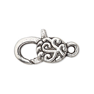 "Clasp, Lobster Claw, Antique Silver-plated ""pewter"" (zinc-based Alloy), 25x13mm Double-sided Swirl Design. Sold Per Pkg 4"
