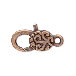"Clasp, Lobster Claw, Antique Copper-plated ""pewter"" (zinc-based Alloy), 25x13mm Double-sided Swirl Design. Sold Per Pkg 4"