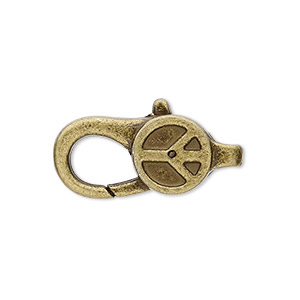 """Clasp, Lobster Claw, Antique Brass-plated """"pewter"""" (zinc-based Alloy), 27x12mm Double-sided Peace Sign Design. Sold Per Pkg 4"""
