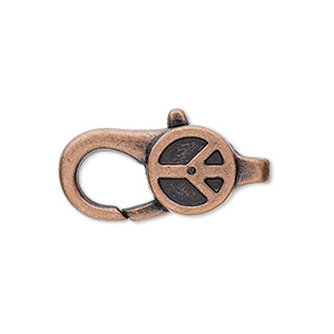 "Clasp, Lobster Claw, Antique Copper-plated ""pewter"" (zinc-based Alloy), 27x12mm Double-sided Peace Sign Design. Sold Per Pkg 4"