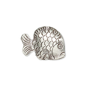 Bead, Hill Tribes, Antiqued Fine Silver, 22x17mm Fish. Sold Individually