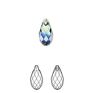 Drop, Swarovski® Crystals, Crystal Blend Colors, Crystal Passions®, Provence Lavender Chrysolite, 13x6.5mm Faceted Briolette Pendant (6010). Sold Per Pkg 24 6010