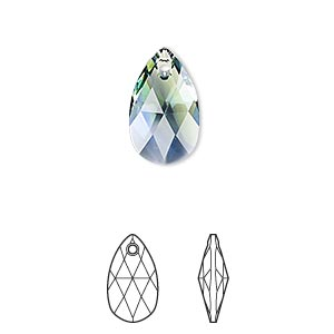 Drop, Swarovski® Crystals, Crystal Blend Colors, Crystal Passions®, Provence Lavender Chrysolite, 16x9mm Faceted Pear Pendant (6106). Sold Individually 6106