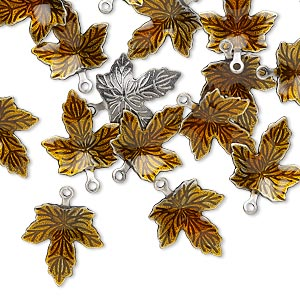 100 Antiqued Silver Plated Brass /& Brown Enamel 13x12mm Maple Leaf Charms