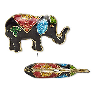 Bead, Enamel Gold-finished Copper, Multicolored, 31x19mm Elephant. Sold Per Pkg 4