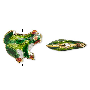 Bead, Enamel Gold-finished Copper, Multicolored, 19x17mm Tree Frog. Sold Per Pkg 4