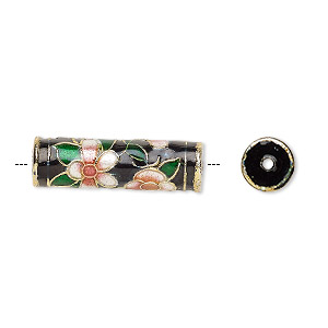 Bead, Enamel Gold-finished Copper, Black / Pink / Green, 23x7mm Round Tube Flower Design. Sold Per Pkg 4