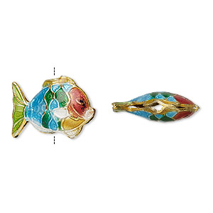 Bead, Enamel Gold-finished Copper, Multicolored, 18x13mm Fish. Sold Per Pkg 4