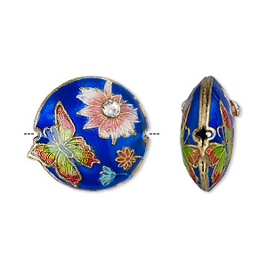 Bead, Enamel / Gold-finished Copper / Glass Rhinestone, Multicolored, 19mm Puffed Round Butterfly Flower. Sold Per Pkg 4