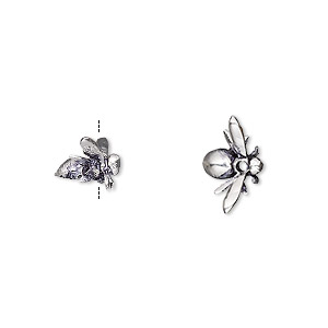 Bead, antique silver-plated brass, 13x7 5mm 3D bee  Sold