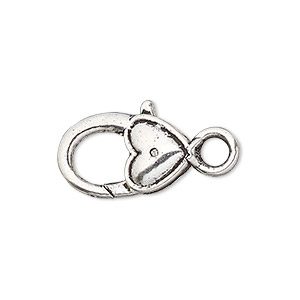 """Clasp, Lobster Claw, Antique Silver-plated """"pewter"""" (zinc-based Alloy), 21x12mm Double-sided Smooth Heart Design. Sold Per Pkg 6"""