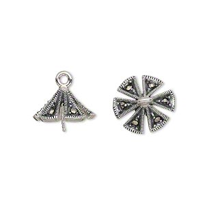Cup, Marcasite (natural) Antiqued Sterling Silver, 13x13mm Triangle 0.8mm Twisted Peg, Fits 10-12mm Bead. Sold Individually