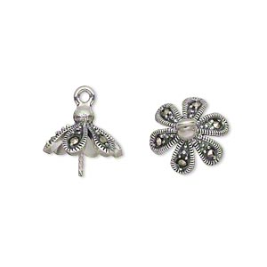Cup, Marcasite (natural) Antiqued Sterling Silver, 13x13mm Flower Petal 0.8mm Twisted Peg, Fits 10-12mm Bead. Sold Individually