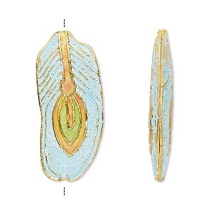 Bead, Cloisonné, Enamel Gold-finished Copper, Light Blue / Green / Orange, 32x14mm Feather. Sold Per Pkg 4