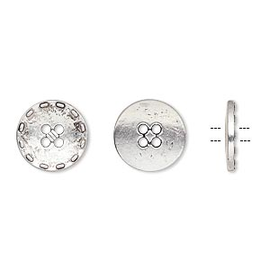 """Button, Antiqued Silver-finished """"pewter"""" (zinc-based Alloy), 12mm Single-sided Flat Round Stitched Edge. Sold Per Pkg 50"""