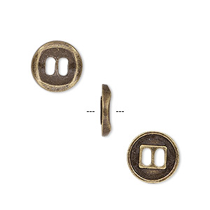 "Button, Antique Brass-plated ""pewter"" (zinc-based Alloy), 11mm Single-sided Concaved Flat Round. Sold Per Pkg 50"
