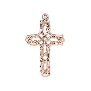 Drop, Copper, 27x19mm Filigree Cross. Sold Per Pkg 2