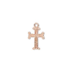 Drop, Copper, 14x10mm Single-sided Fancy Cross. Sold Per Pkg 6