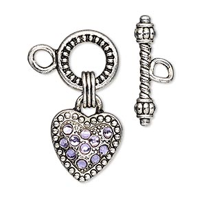 "Clasp, Toggle, Glass Rhinestone Antique Silver-finished ""pewter"" (zinc-based Alloy), Purple, 13mm Round With15x15mm Heart Dangle. Sold Individually"